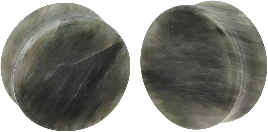 Mystic Metals Body Jewelry Pair of Green Line Jasper Stone Double Flare Plugs (STN-646)