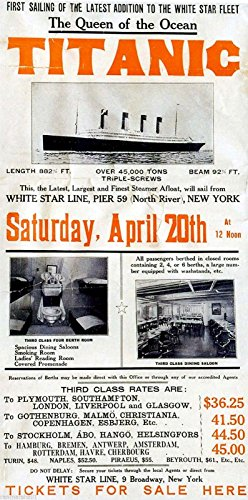 A SLICE IN TIME 1912 Titanic R.M.S. White Star Maiden Voyage Largest Ocean Liner The Ship of Dreams Copy of Original Vintage Travel Advertisement Poster Print