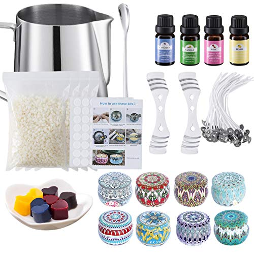 Candle Making Kit Supplies Scented Essential Oil Candle Starter Kit with Fragrance Scents Complete DIY Beginners Set Including beeswax, wick clips, stainless steel cup, essential oils,Color Blocks