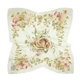 TONY & CANDICE Women's Graphic Print 100% Silk, Silk Scarf Square, 33X33 Inches (White and Pink Flowers Print)
