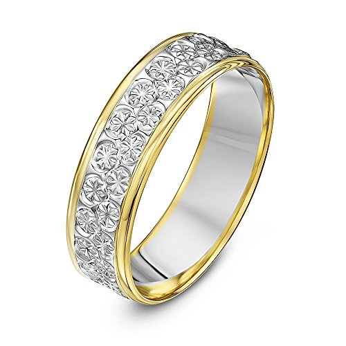 Theia Unisex 9 ct White and Yellow Gold Heavy Flat Diamond Cut 6 mm Wedding Ring, Size Z