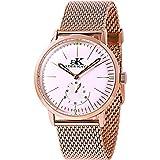 Adee Kaye #AK9044-MRG Men's Retro Vintage Rose Gold Tone Leather Band Automatic Watch