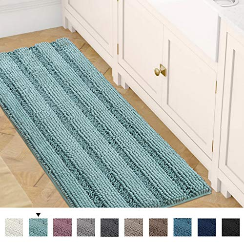 Bath Rug Runner 47' x 17' Bathroom Rug Bath Mat Non-Slip Striped Luxury Chenille Large Bathroom Rug Mat Extra Soft and Absorbent Shaggy Rugs for Indoor Floor Machine Washable, Duck Egg Blue