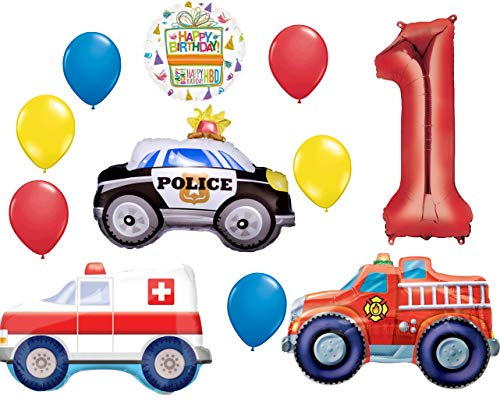 Team Rescue 1st Birthday Party Supplies and First Responders Balloon Bouquet Decorations