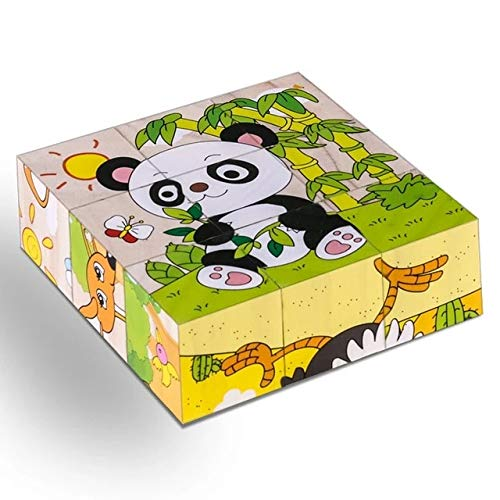 Gather together Forest Animals-panda High Grade Six-face Picture Wooden Jigsaw 3d Puzzle Toys Children's Early Educational Toy Cube Jigsaw Puzzle Baby Kids Gifts