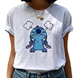 NoBrand T-Shirt de Mode pour Femmes Point Harajuku Kawaii T-Shirts Belle Bande dessinée Femme Imprimé T-Shirt décontracté Mignon Tops décontractés