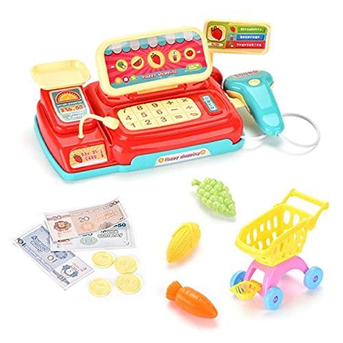 DDHH Supermercado caja registradora juguetes para niños, caja registradora, juguete con música y simulación de luz, caja registradora, juego para niños de 3 4 y 5 años