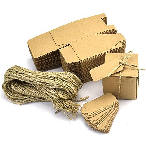 ANTHYTA 50 Stück Halloween Geschenkschachtel Kraftpapier 5 * 5 * 5cm Kraftpapierbox Schachteln mit Deckel & Jute Geschenkbox Klein Quadratische Pappschachteln Gastgeschenke für Halloween Süßigkeiten