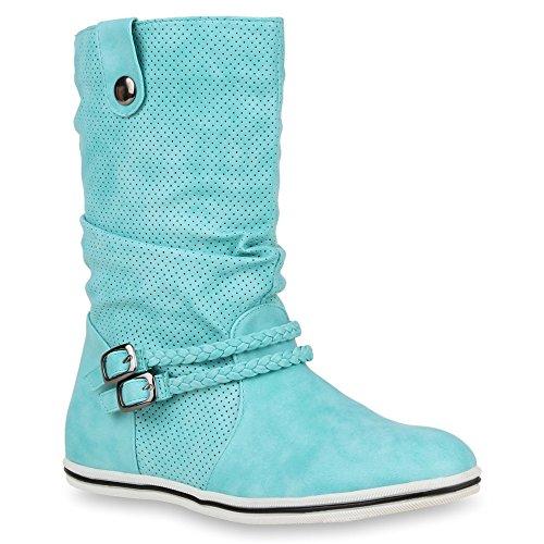 Bequeme Damen Stiefel Schlupfstiefel Lochungen Flache Boots Leder-Optik Metallic Schuhe 49211...