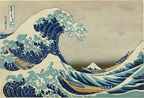 time4art Hokusai KATSUSHIKA Die riesige Welle von Kanagawa Print Canvas Bild auf Keilrahmen Leinwand Verschiedene Größen (120x80cm) japanischer Maler