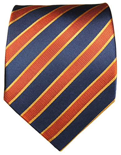 Paul Malone Cravate homme bleu orange rayée 100% soie