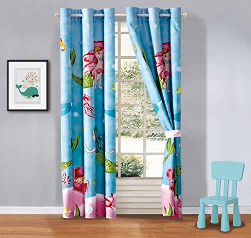 your zone home patio curtains Kids zone Home Linen 2 Panel Curtain Set with Grommet for Boys Girls Teens Bedroom Multicolor Set Mermaid Treasure Under The sea Blue Rose Pink Green Princess of The Sea New