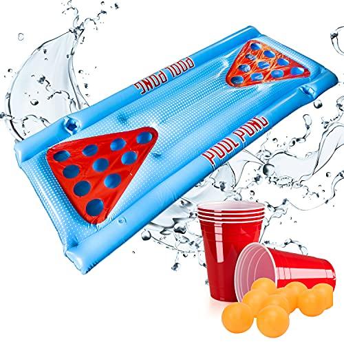 L + H WORLD XXL Beer Pong Bier Pong Set | aufblasbare Bierpong Luftmatratze inkl. 25 rote Partybecher & 6 Bälle |aufblasbarer schwimmender Beerpong Tisch | Pool Matraze Red Cups Party