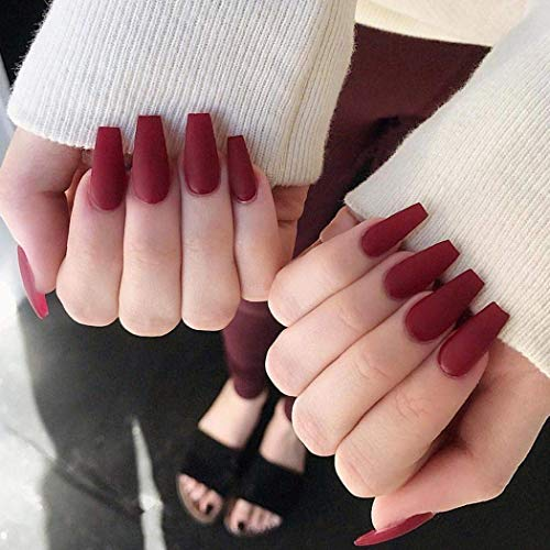 Handcess 24Pcs Ballerina Pure Color Matte Sarg Nägel Full Cover Medium False Gel Nägel Art Tips Sets Wein