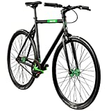 Chill Singlespeed 700c Fixie Bike Retro Fahrrad Fitnessbike Fixie 28' Rennrad (schwarz/grün, 56 cm)