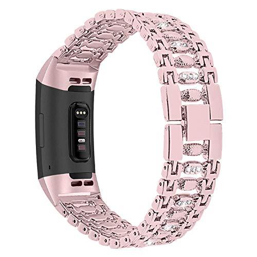 XIALEY Correa Compatible con Fitbit Charge 3/Charge 4, Banda para Mujer Pulseras De Diamantes De Imitación De Acero Inoxidable con Brazalete Metal para Charge 3/Charge 4,Rose Pink