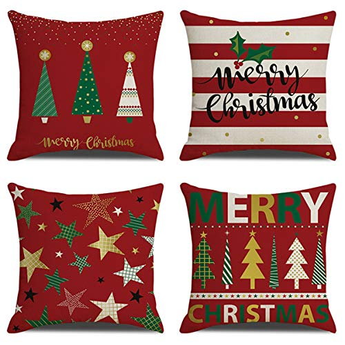 XIECCX Christmas Throw Pillow Covers 18x18 Set of 4 Outdoor Pillowcases Winter Home Decorative Pillows for Couch Sofa Bed Breathable Linen with Hidden Zipper