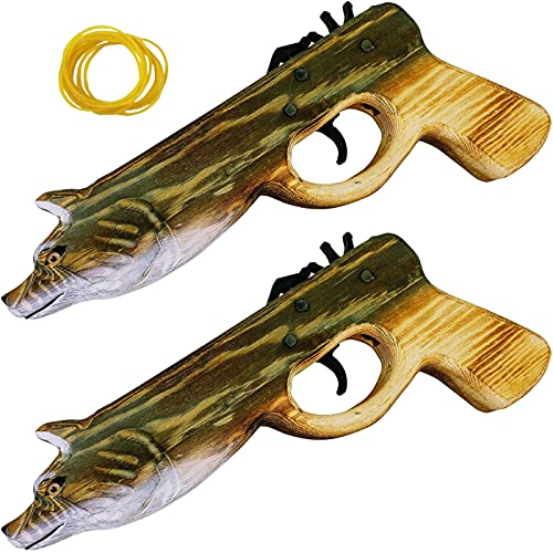 Adventure Awaits! - Animal Rubber Band Gun 2-Pack Set - Quality Wood & Handcarved - Easy Load - 16 Rubber Bands per Set (Wolf)