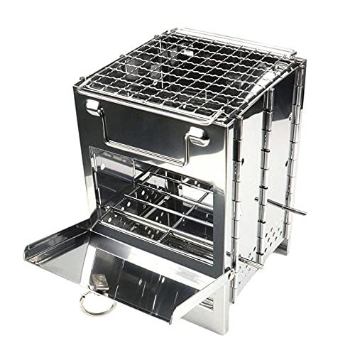 LOVOICE Barbacoa con carrito de carbón vegetal, horno cuadrado de leña, ajustable, de acero inoxidable, horno de carbón, STO