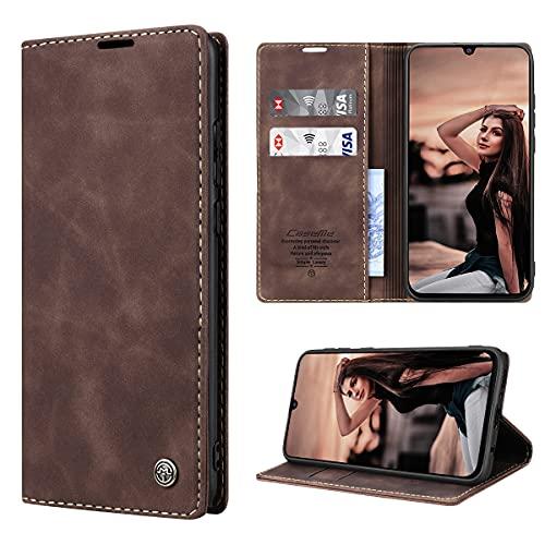 RuiPower Handyhülle für Samsung Galaxy M31 Hülle Premium Leder PU Flip Hülle Magnet Klapphülle Lederhülle Silikon Bumper Schutzhülle für Samsung Galaxy M31 Tasche - Koffee