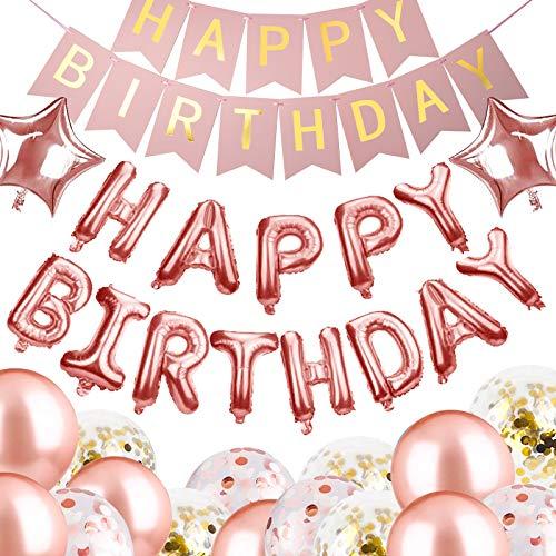 Aoliandatong Guirnalda de cumpleaños, guirnalda de cumpleaños con globos, globos con letras 'Happy Birthday', juego de decoración para mujeres, niños, bebés, niñas, cumpleaños, fiestas (oro rosa)