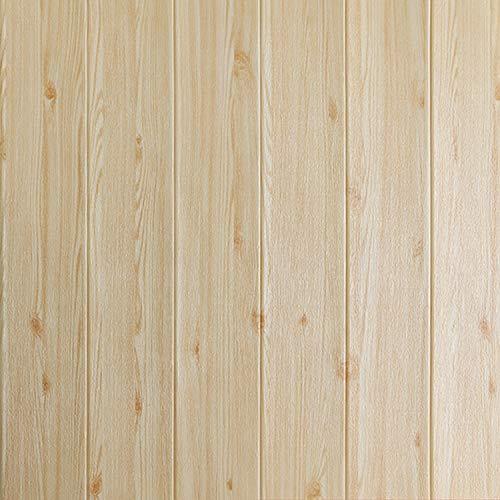 SQINAA 3D Wallpaper wasserdichte Selbstklebende Peel and Stick Holzmaserung Wallpaper für Wohnzimmer Schlafzimmer TV Hintergrund Store Decke Restaurant Home Decoration (10 PCS),Beige