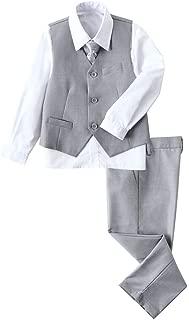 4 Piece Boys' Formal Suit Set with Vest Pants Dress Shirt and Tie