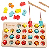 MAGNETIC FISHING GAME : This simple and adorable fishing game offers hours of fun for children ages 3 and up 3 years old. It comes with 2 Wooden Magnetic Fishing Poles, 1 Wooden Sorting Box, 26 PCS Wooden fish. It is not only a fun activity for your ...