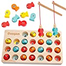 Coogam Wooden Magnetic Fishing Game, Fine Motor Skill Toy ABC Alphabet Color Sorting Puzzle, Montessori Letters Cognition Preschool Gift for Years Old Toddler Kid Early Learning with 2 Pole