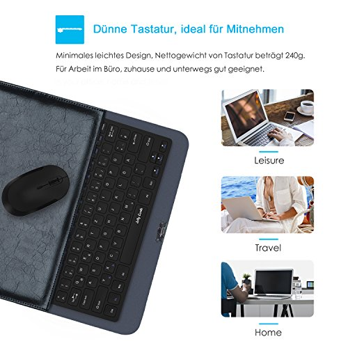 Jelly Comb Tastatur und Maus Set, 2.4G Kabellose Dünne Tastatur mit Funkmaus Kombi für Laptop, PC und Smart TV, Deutsches Layout QWERTZ, Schwarz