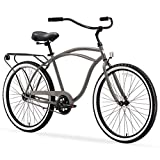 sixthreezero Around The Block Men's Single-Speed Beach Cruiser Bicycle, 26' Wheels, Matte Grey with Black Seat and Grips