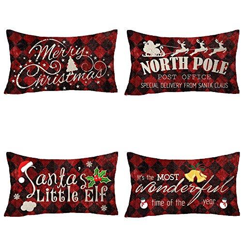 Mesllings Set van 4 North Pole Post Office Santa's Little Elf Het is de meest prachtige tijd van het jaar vrolijke kerst hoed Bell Snowman katoenen linnen decoratieve gooi kussensloop kussensloop case 12x20 inch