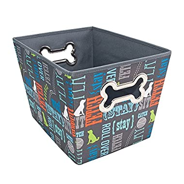 Paw Prints 37409 Wordplay Design Fabric Pet Toy Bin, 14.5  L x 10  W x 10  H