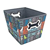 Paw Prints Fabric Pet Toy Bin, Wordplay Design, 14.75 x 10 x 10.75...