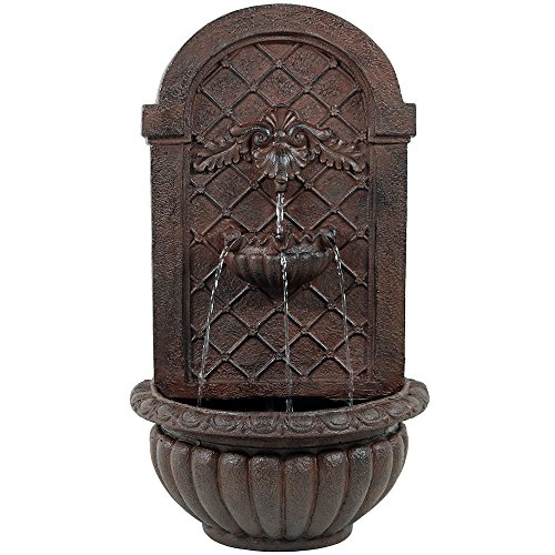 Sunnydaze Venetian Outdoor Wall Water Fountain, Includes Electric Submersible Pump, Iron Finish, 27 Inch Tall