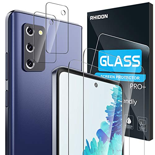 "【4 Pack】 Rhidon 2 Pack Tempered Glass Screen Protector for Samsung Galaxy S20 FE(6.5"")+2 Pack..."
