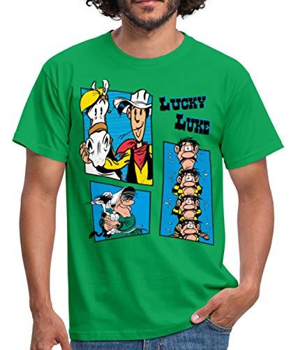 Spreadshirt Lucky Luke und die Dalton Familie Männer T-Shirt, S, Kelly Green
