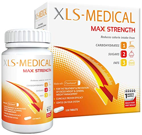 XLS-Medical Max Strength Tablets - Reduce Calorie Intake from Carbohydrates, Sugars and Fats - 120 Tablets, 30 Days Treatment