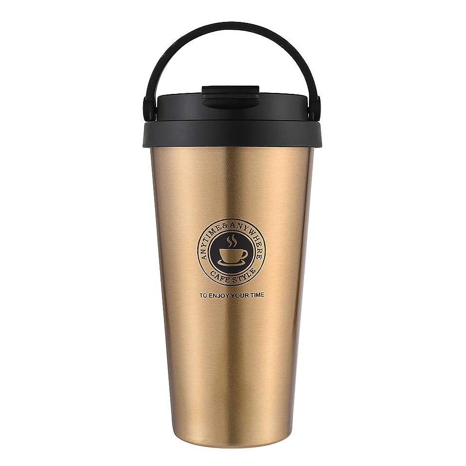 り化合物モスCOLOCUP 真空断熱 タンブラー 水筒 保温保冷 二重構造 コーヒーカップダブル 304ステンレス 携帯在宅アウトドア旅行オフィス 500ml (ゴールド)