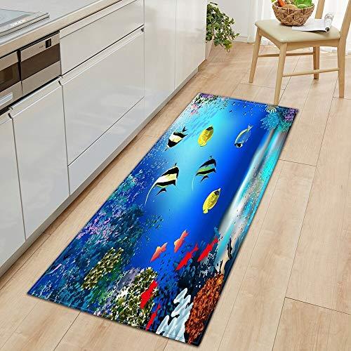OPLJ 3D Underwater World Küchenmatte Eingang Fußmatte Schlafzimmer Bodendekoration Wohnzimmer Teppich rutschfeste Fußmatte A22 40x120cm