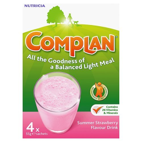 Complan Summer Strawberry Flavour Drink, 4 x 55g Sachets