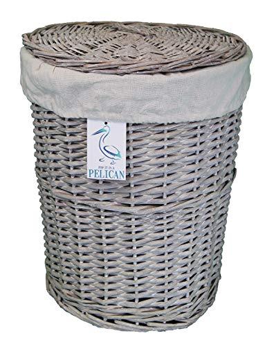 Cestas de mimbre para la colada y el lavado, en color gris y blanco, forro extraíble lavable, solución de almacenamiento natural, ropa, baño o dormitorio, ratán y mimbre, Gris, Round 45 ltr