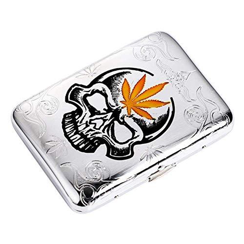 Cigarette Case Men's Portable Waterproof Skull Pattern Copper Metal Cigarette Can Hold 16 Cigarettes