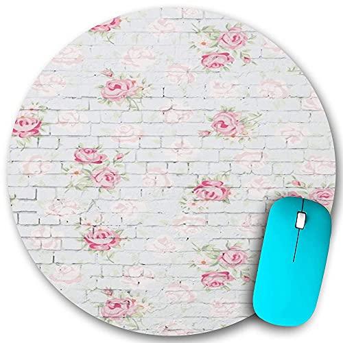 N\A Alfombrilla de ratón Redonda de Goma Antideslizante, Flores Shabby Chic Florales en la Pared de ladrillo Blanco, Alfombrilla de ratón Duradera Impermeable para Escritorio de Oficina Personalidad
