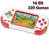 zhishan console di gioco portatile per bambini con 220 videogiochi classici integrati 3.0 lcd schermo sistema di gioco elettronico ricaricabile per adulto compleanno e regalo di natale-verde