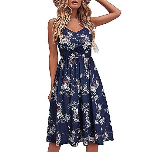 THEBESTSOLD Sexy Kleid Damen Tunika Kleid - Sommerkleid Damen Knielang, Damen Sommer spaghettiträger-Kleid Einfarbig V-Ausschnitt Plissiertes Kleid Elegant Casual Kleid, Midi Sommerkleid Partykleid