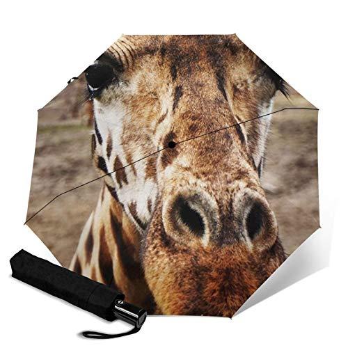 Paraguas de jirafa, resistente al viento, compacto automático, paraguas de viaje, plegable, paraguas portátil, paraguas de viaje para hombre