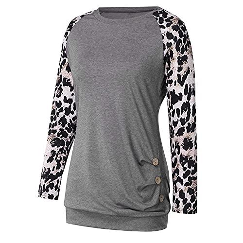 Camiseta de Manga Larga con Botones con Estampado de Leopardo para Mujer