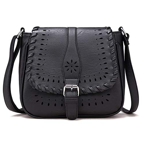 Forestfish Ladies' Vintage Satchel Hollow Bag Crossbody Shoulder Bag Purse with Adjustable Shoulder Strape,Black