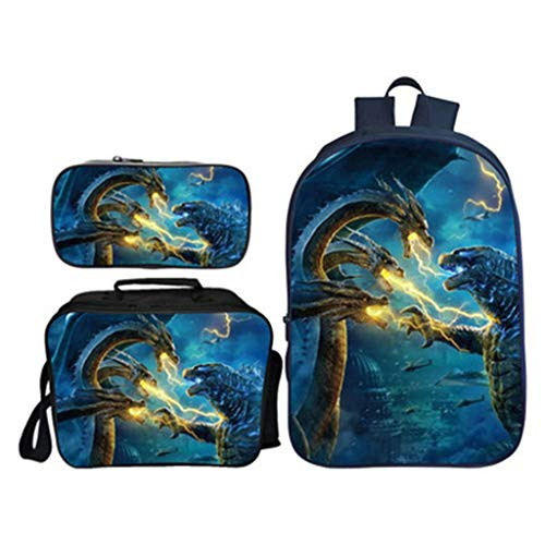 Children's Backpack 16-inch 3 Piece Suit With Lunch Bag + Pencil Case Oxford Cloth Inside Of Primary School Bags -excellent Gift -Girls Boy A